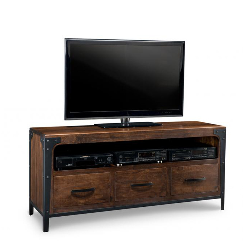 portland 60 tv console, custom tv console, handstone, solid wood furniture, rustic wood furniture, maple, oak, made in canada, canadian made, customizable, metal accents