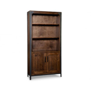 portland bookcase, handstone, solid wood, rustic wood, made in canada, canadian made, shelf, shelving, book shelf, storage, doors, office furniture, metal accents