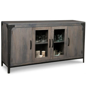 portland wide display sideboard, solid wood, made in canada, handstone, rustic, modern, contemporary, storage cabinet, glass doors, metal accents, custom