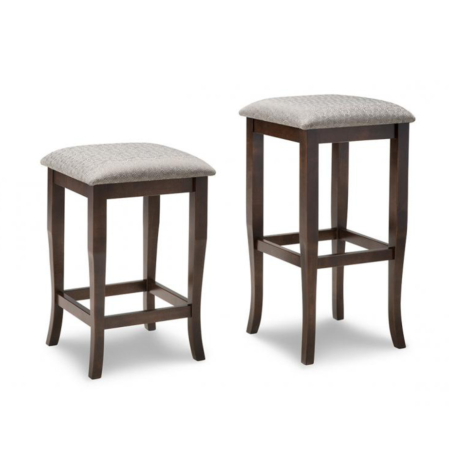 yorkshire backless stool, solid wood, made in canada, handstone, rustic, modern, contemporary, fabric seat, wood seat