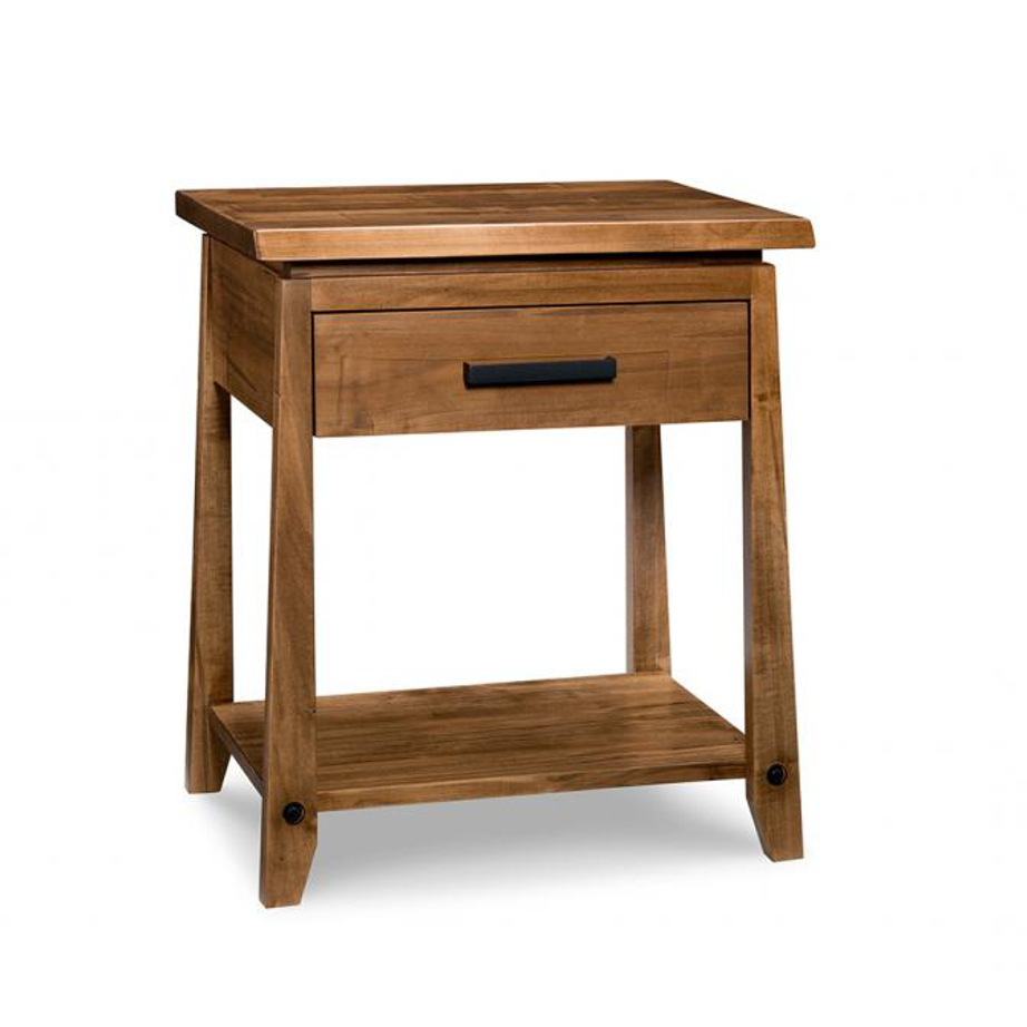 handstone, made in canada, solid wood furniture, rustic furniture, modern furniture, craftsman furniture, live edge furniture, amish style furniture, pemberton bedroom 2, bedroom furniture ideas, bedroom design, bedroom furniture, pemberton 1 drawer night stand