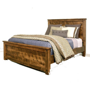solid wood bed, rustic furniture, made in canada, canadian made, rustic bedroom, queen, king, distressed wood, ruff sawn, adirondack bed