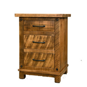 solid wood night stand, rustic furniture, made in canada, canadian made, custom night stand, hand crafted, ruff sawn, distressed wood finish, adirondack night stand