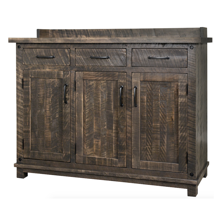 Contemporary, custom cabinet, distressed, drawers, industrial, made in canada, maple, modern, ruff sawn, rustic, solid wood, Dining Room, Cabinets, Storage Cabinets, rustic wood kitchen furniture, modern kitchen furniture, kitchen furniture, custom built kitchen furniture, Adirondack Sideboard, Adirondack, Sideboard