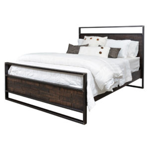 solid wood bed, rustic furniture, made in canada, canadian made, rustic bedroom, queen, king, distressed wood, ruff sawn, carson bed, metal frame, stacked wood