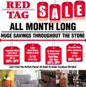 furniture sale, red tag sale, solid wood furniture, floor model, clearance, save, savings,